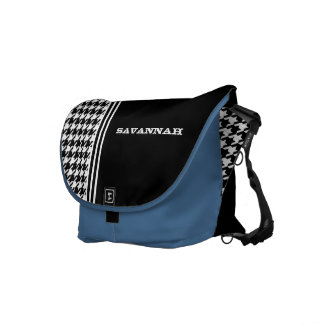 Black & White Hounds Tooth Racing Stripe Messenger Messenger Bags