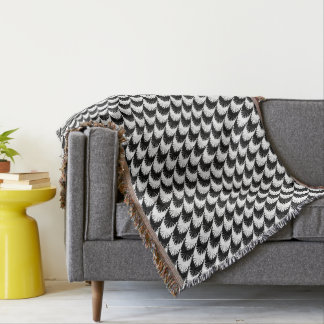 Black & White Hounds-Tooth Throw Blanket