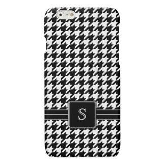 Black White Houndstooth Custom Monogram Initial iPhone 6 Plus Case