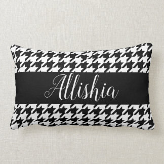 Black & White Houndstooth & Hand Lettering Script Lumbar Cushion