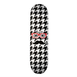 Black & White Houndstooth; Hipster Skateboard