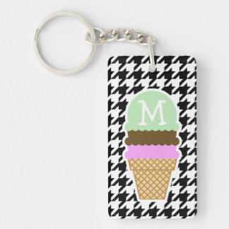 Black & White Houndstooth; Ice Cream Cone Double-Sided Rectangular Acrylic Key Ring