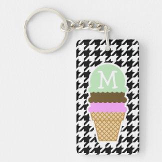 Black White Houndstooth Ice Cream Cone Keychains