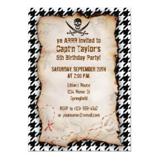 Black & White Houndstooth Jolly Roger 5x7 Paper Invitation Card