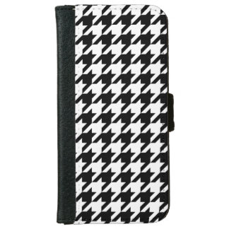 Black White Houndstooth Pattern #2 iPhone 6 Wallet Case