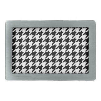 Black & White Houndstooth Pattern Belt Buckles