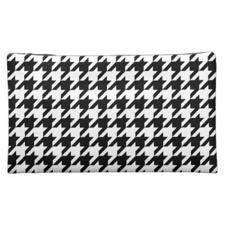 Black & White Houndstooth Pattern Cosmetic Bags