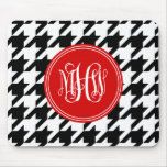 Black White Houndstooth Red 3 Init Vine Monogram Mouse Mats