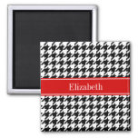 Black White Houndstooth Red Name Monogram