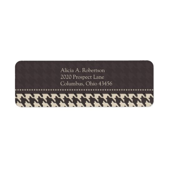 Black/White Houndstooth Return Address Label