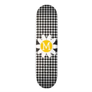 Black White Houndstooth Spring Daisy Skateboard