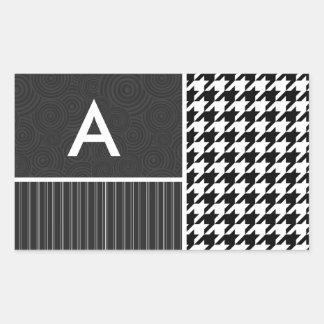Black White Houndstooth Rectangle Sticker