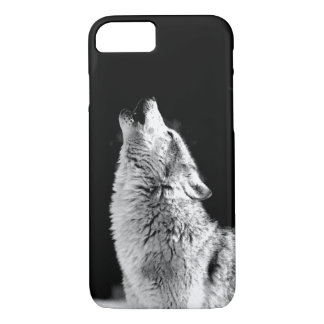Black & White Howling Wolf iPhone 7 Case