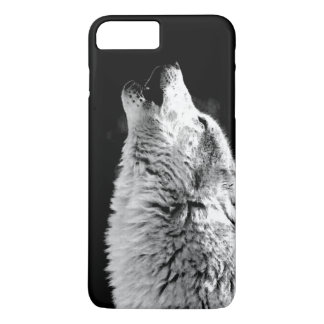 Black White Howling Wolf Night iPhone 7 Plus Case