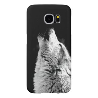 Black White Howling Wolf Samsung Galaxy S6 Case