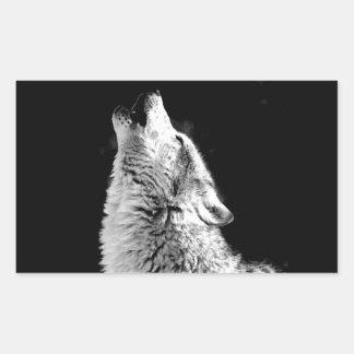 Black White Howling Wolf Rectangular Stickers