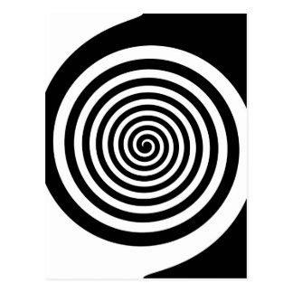 Black & White Hypnotic Spiral Postcard