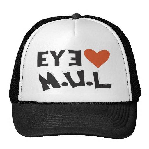 Black & White I LUV MUL  Logo cap Hats