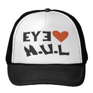 Black White I LUV MUL Logo cap Hats