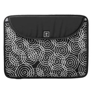 Black White Ikat Overlap Circles Geometric Pattern Sleeve For MacBooks