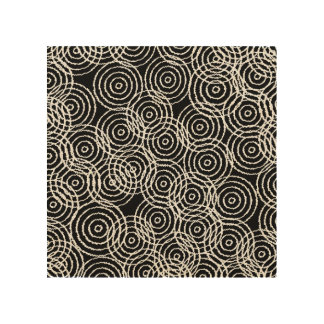 Black White Ikat Overlap Circles Geometric Pattern Wood Print