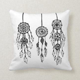 Black & White Illustrated Bohemian Dreamcatchers Cushion