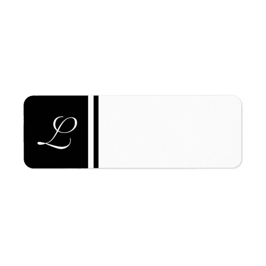 Black White Initial Label- Customisable Background