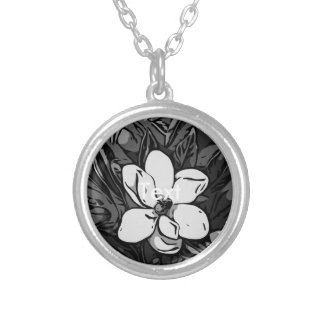 Black&White Ink Flower Round Pendant Necklace