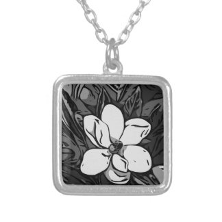 Black&White Ink Flower Square Pendant Necklace