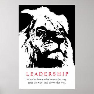 Black White Inspirational Leadership Lion Poster