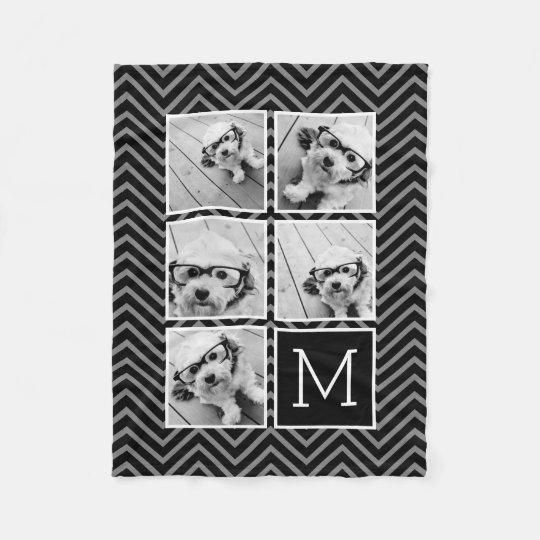 Black White Instagram 5 Photo Collage Monogram Fleece