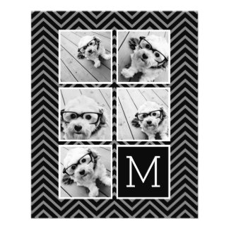 Black White Instagram 5 Photo Collage Monogram Flyer