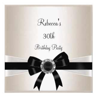 Black White Jewel Bow 30th  Birthday Silver Sepia 13 Cm X 13 Cm Square Invitation Card