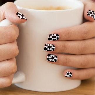 Black white jigsaw pattern trendy minx nail art