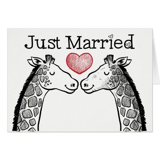 Black & White Just Married Giraffe Love Wedding
