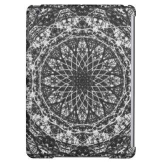 black white kaleidoscope pattern iPad air case