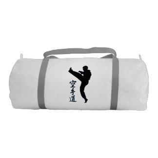 Black & White Karate Pose Kick Gym Duffel Bag