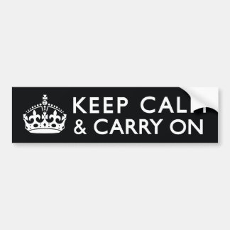 Black & White Keep Calm and Carry On Bumper Sticker