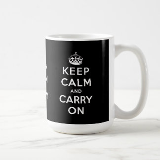 Black White Keep Calm and Carry On Mugs