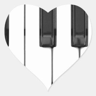 Black White Keys Music Keyboard Heart Sticker
