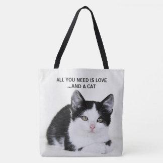 Black White Kitten All Over Print Tote Bag