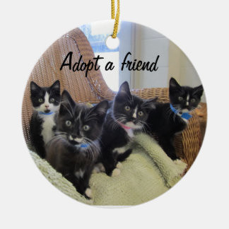 Black & White Kittens Christmas Ornament