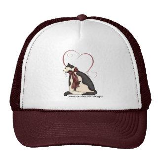 Black & White Kitty Cat w/Hearts Trucker Hats