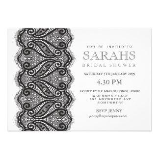 Black White Lace Bridal Shower Party Invite