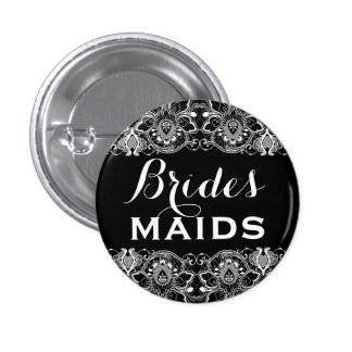 Black & White Lace Bridesmaids Button 2