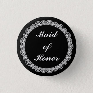 Black White Lace Maid Of Honor Pin Badge
