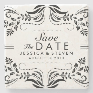Black & White Lace Save The Date Sticker 2 Stone Coaster
