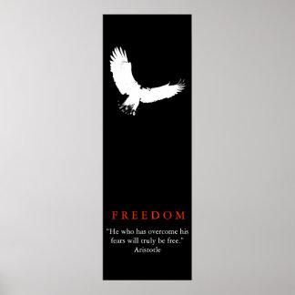 Black White Landing Bald Eagle Silhouette Poster
