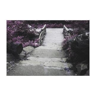 Black & White Landscape Bridge Photo Stretched Canvas Print