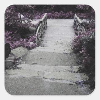 Black White Landscape Bridge Photo Square Sticker